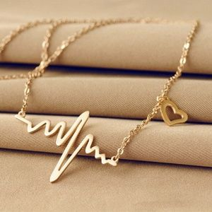 Jewelry - Gold Tone  Wave Heart Necklace